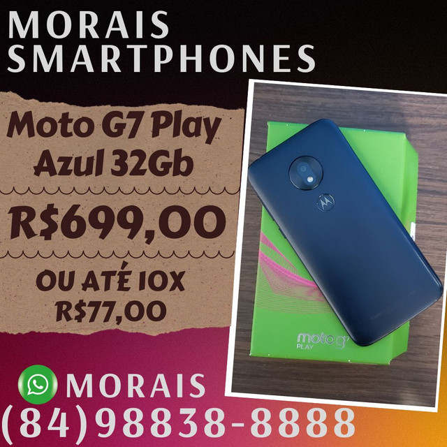 Moto G7 Play Azul Índigo 32Gb (SEMI-NOVO IMPECÁVEL)  - WHATS ( 8 4 ) 9 8 8 3 8 - 8 8 8 8