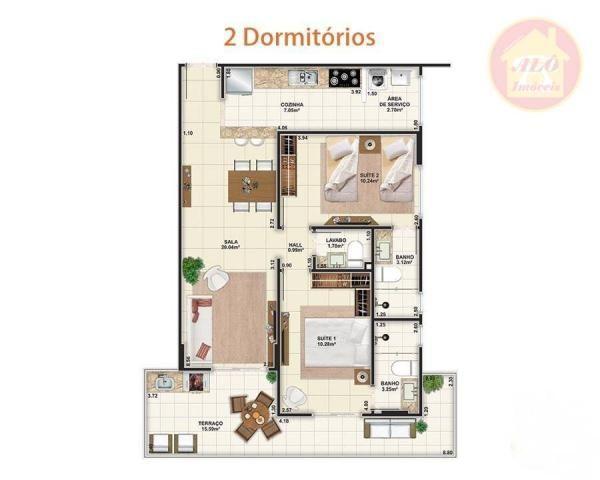 Apartamento à venda, 84 m² por R$ 370.000,00 - Tupi - Praia Grande/SP - Foto 2