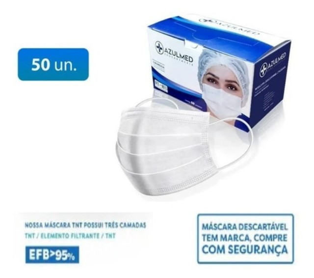 Máscara Cirúrgica Descartável Tripla Proteção 50 unid. - Foto 5