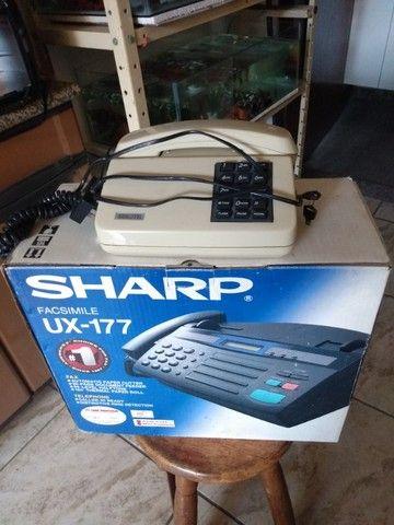 Aparelho de FAX Sharp UX-177 mais telefone teclado Qualitel com chave - Foto 2