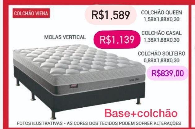 Base de cama mais colchão de cama box modelo três