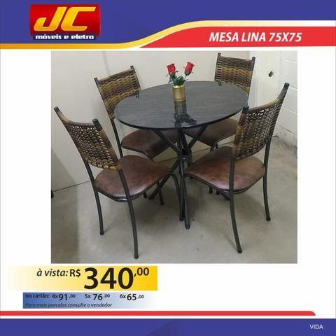 Mesas 4 cadeiras redondas na promoção - Foto 3