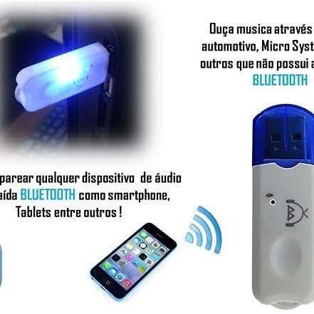 Adaptador Receptor Bluetooth Usb Pendrive Musica Carro- Azul - Foto 3