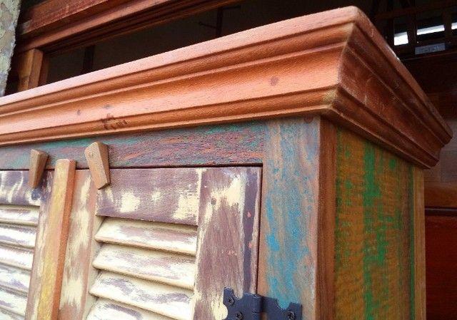 sapateira rustica em madeira de demoliçao - Foto 3