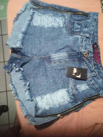 Short jeans de zíper na lateral (novo)