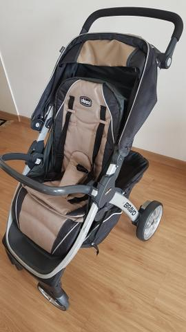 b107fc338 Trio system chicco bravo completo. carrinho, bebê conforto e base para carro