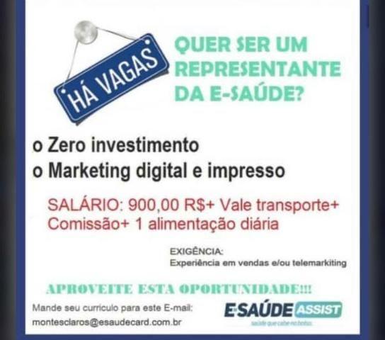 Vagas para trabalhar como representante de vendas na empresa E.Saude Assist