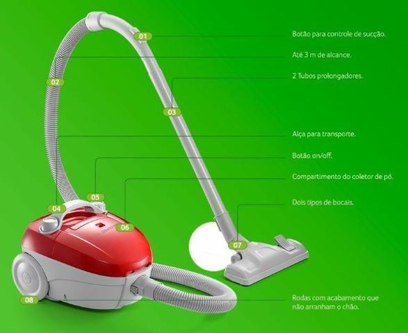 Aspirador De Pó Portátil 1200w Multilaser Com Saco 110v 220v - Foto 5