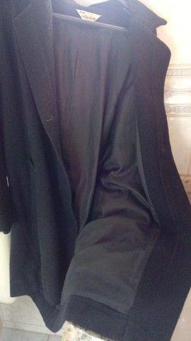 Elegante Sobretudo  Feminino Preto lã batida - Foto 2