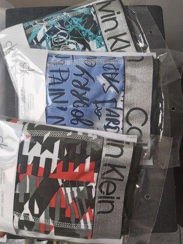 Cueca Boxer Calvin Klein elástico Prateado - Foto 3