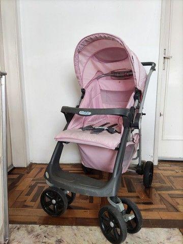Carrinho de bebê rosa (usado) - Foto 2