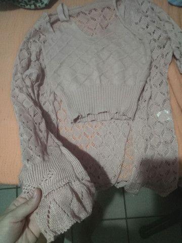 Vendo cardigan com top Cropped de tricô ( novo) - Foto 3