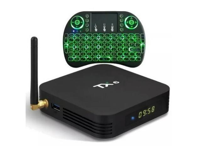 Tv Box Tx6 Android 9 0 2GB 16GB Wifi Youtube com Mini Teclado de Led