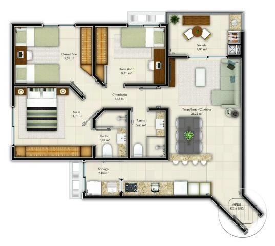 Apartamento à venda com 3 dormitórios em Abraão, Florianópolis cod:Ap0172 - Foto 2