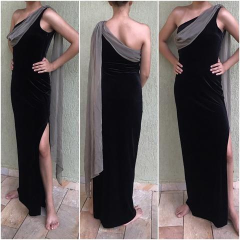 074388ac6eb17 Vestido de festa longo veludo preto - Roupas e calçados - Jardim ...