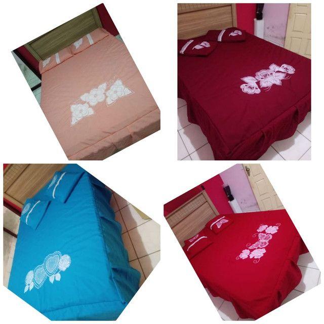 Coxa de cama box bordado com babado - Foto 3
