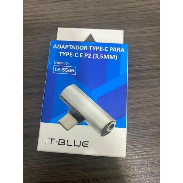 (WhatsApp) adaptador tipo c - 2 em 1 - carregador e fone de ouvido - it-blue - le-5586