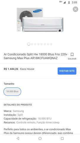 Ar condicionado 18000 buts da Samsung