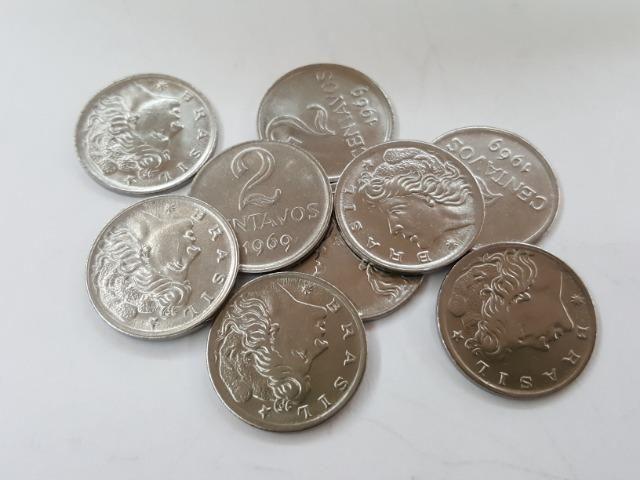 822 Moedas Flor De Cunho 2 Centavos 1969 No Saco Com Aprox.822 M