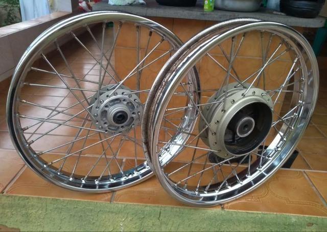 Rodas CG Fan 150 14/14 + Pneu dianteiro - Foto 3