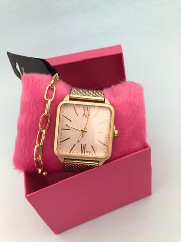Kit relógio feminino + pulseira