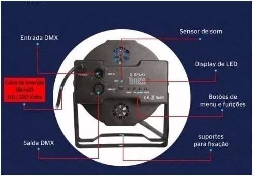 Canhao Refletor 36 Leds Rgbw Slim Dmx Digital (NOVO) - Foto 3
