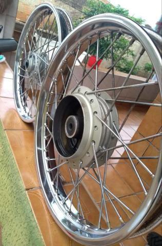 Rodas CG Fan 150 14/14 + Pneu dianteiro - Foto 4