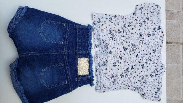 Conjunto infantil short e camiseta unicornio pop corn - Foto 4