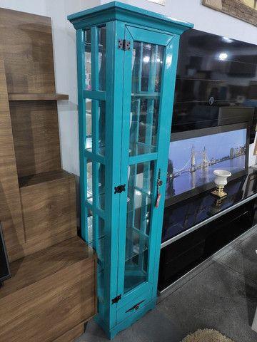 Cristaleira Decorativa com Espelho e Vidro nas Laterais