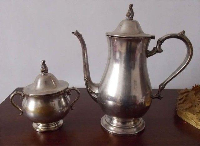 Conjunto prata 90 antigo bule e açucareiro - Venda ou Troca
