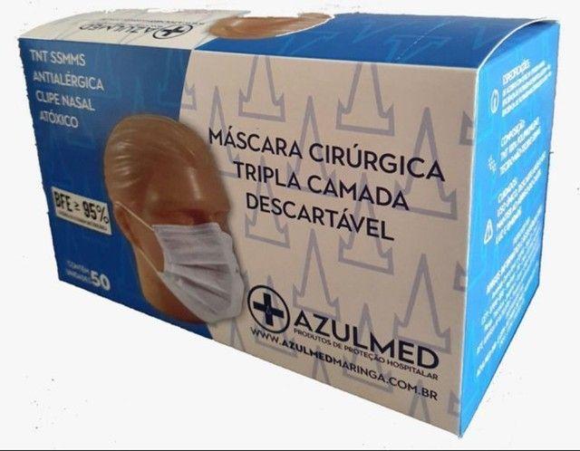 Máscara Cirúrgica Descartável Tripla Proteção 50 unid. - Foto 6