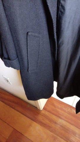 Elegante Sobretudo  Feminino Preto lã batida - Foto 3