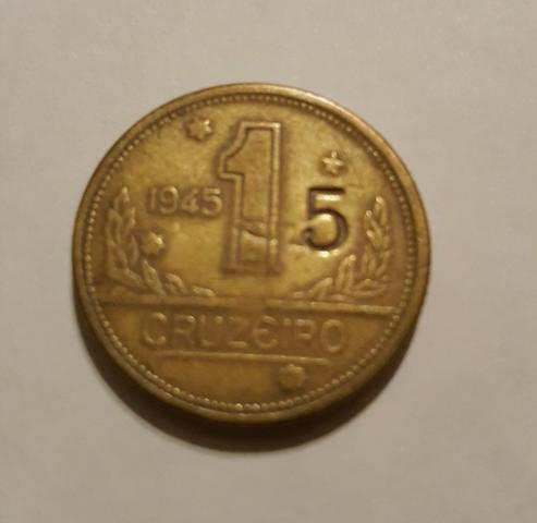 Moeda 1 Cruzeiro 1945 com carimbo