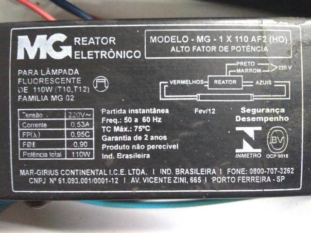 2 Reatores para Lâmpada Fluorescente HO 110W 220V - Foto 3
