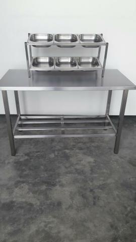 Condimentadora com Gn's - Mesa 1,40x0,70 mt - Produto industrial novo para cozinha