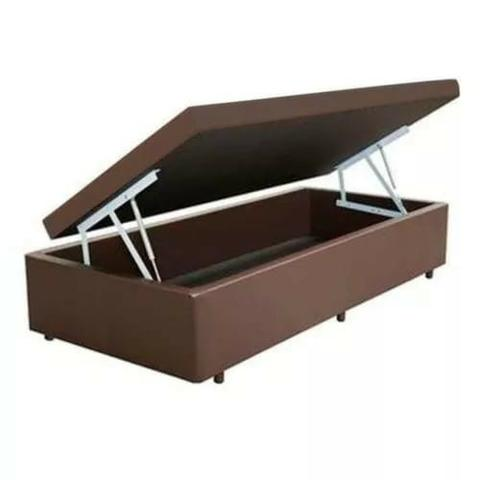 Cama Box baú solteiro em corino (12 parcelas R $ 44.50 )