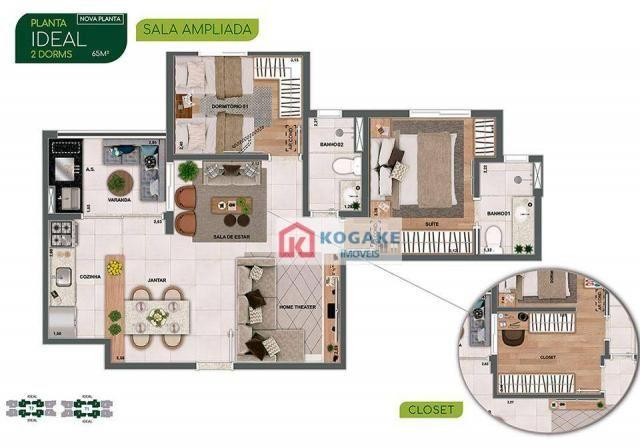 Apartamento com 2 dormitórios à venda, 65 m² por R$ 331.980 - Parque Industrial - São José - Foto 3