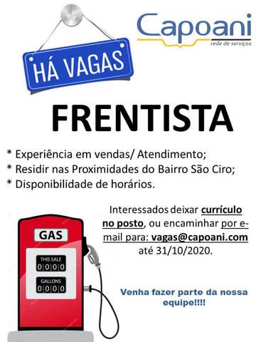 Vaga para Frentista Caxias do Sul/RS