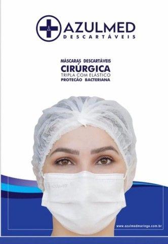 Máscara Cirúrgica Descartável Tripla Proteção 50 unid. - Foto 3