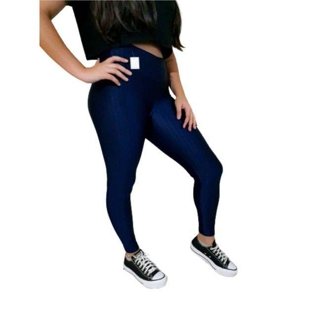 Calça Legging Suplex Cirre 3D Azul Marinho