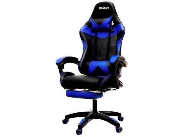 Cadeira Gamer PCTop Reclinável Preta e Azul - PGB