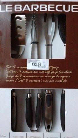 kit churrasco 4 peças Inox barbecue (novo na caixa/sem uso)