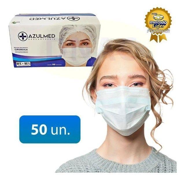 Máscara Cirúrgica Descartável Tripla Proteção 50 unid. - Foto 2