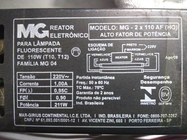 2 Reatores para Lâmpada Fluorescente HO 110W 220V - Foto 2