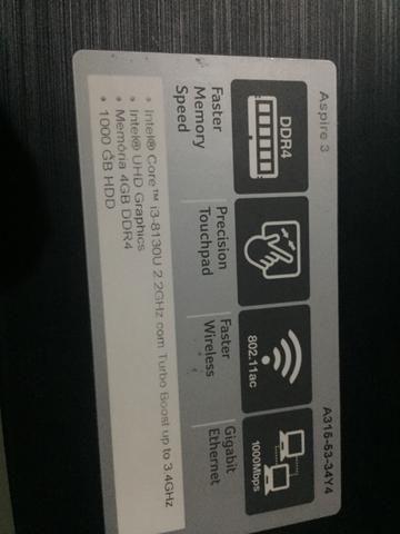 Notebook Acer Aspire i3 8º Geração 4GB 1TB - Foto 5
