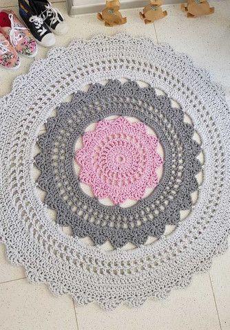 Tapete oval em croche - Foto 4