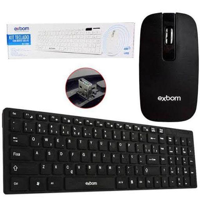 Kit teclado e mouse sem fio exbom com película para o teclado - Foto 2