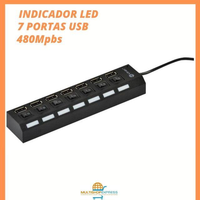 Hub USB 2.0 7 portas com LED indicador Vinik - Foto 4
