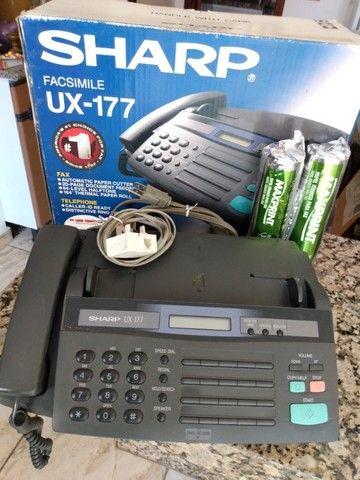 Aparelho de FAX Sharp UX-177 mais telefone teclado Qualitel com chave