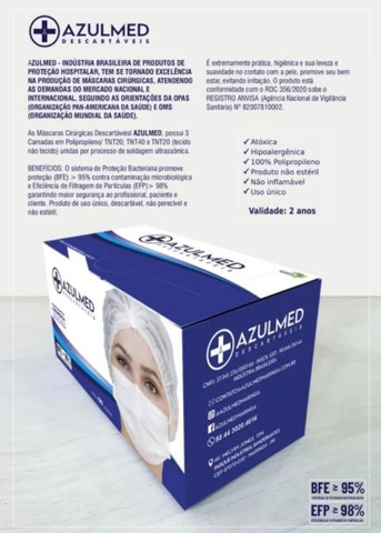 Máscara Cirúrgica Descartável Tripla Proteção 50 unid. - Foto 4
